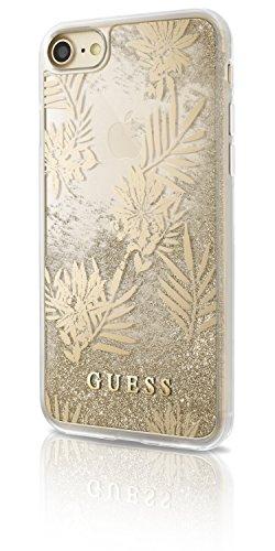 Guess GUHCP7GLUPRG - Cover rigida per Apple iPhone 7, motivo: Palm Spring, colore: Oro