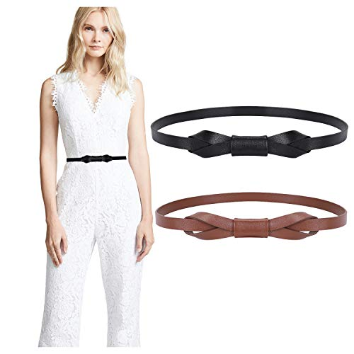 JASGOOD Women PU Leather Skinny Belt for Dress Adjustable Thin Waist Belt for Lady, Suit for Waist Size 34-40 Inches, A-Black+Coffee
