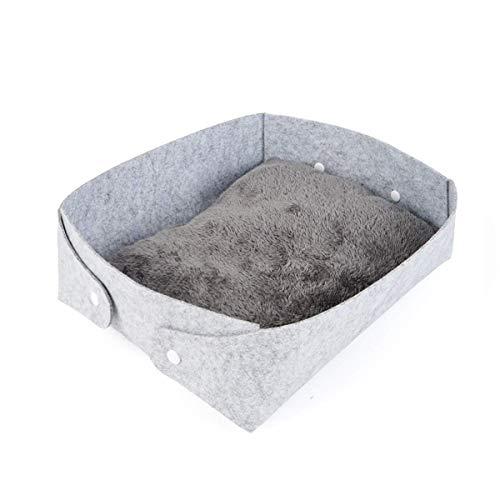 TYZXR Zusammenklappbares Katzenbett, Winter warmes Filzkätzchen Nest Bett Matte Indoor Kitty Box Gemütliche Haustierhöhle, Katzenhaus, waschbar (Farbe: Grau)