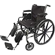 """Med-Elite Deluxe Wheelchairs - Elevating Leg Rests - Desk-Length Arm Rests - Padded Nylon Seat (18"""" Seat)"""