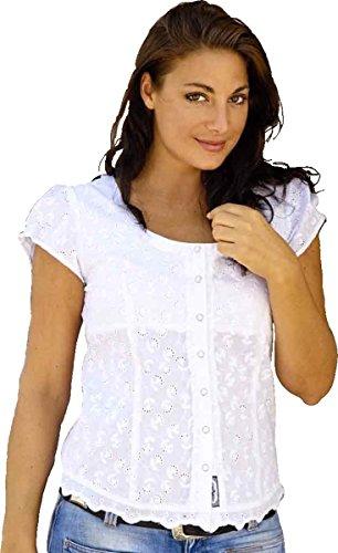 """STARS & STRIPES Bluse """"Virginia"""" Kurzarm Damen Baumwolle mit Lochstickerei Gr. S bis 3XL (XL)"""