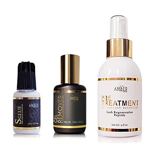 Amber Lash Eyelash Extension Supply Gold Series Bundle kit- Glue, Gel Remover and Primer for Professional Application