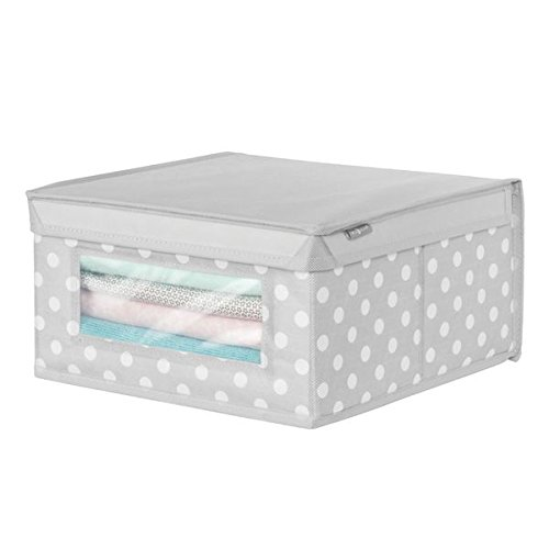 mDesign Soft Stackable Fabric Closet Storage Organizer Holder Box - Clear Window, Attached Hinged Lid, for Child/Baby Room, Nursery, Playroom - Polka Dot Pattern - Medium, Light Gray with White Dots