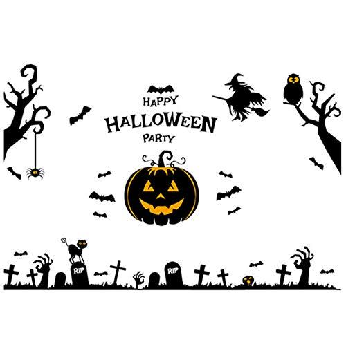Happy Halloween Black Pumpkin bat Tree Wall Sticker Cartoon Showcase Window Door Background Funny Halloween Home Wall Stickers 60 * 90cm