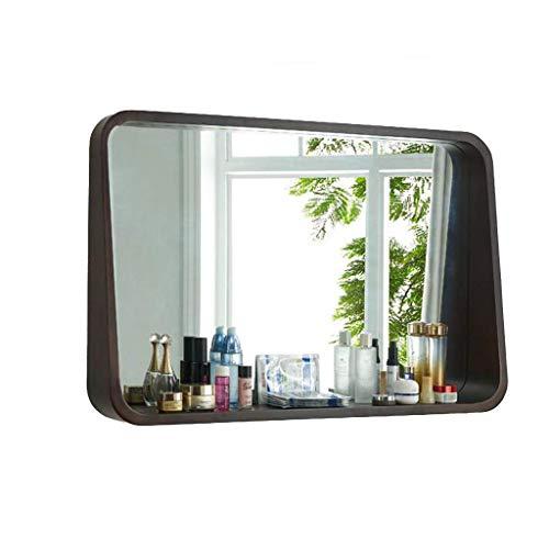 PLLP Wandspiegel, Spiegelschränke Spiegel Quadratischer Badezimmerspiegel Toilettenschrank Massivholzschrank Spiegel Spiegel Spiegel Badezimmerwand mit Aufbewahrungswand,Braun,80 * 13 * 60cm