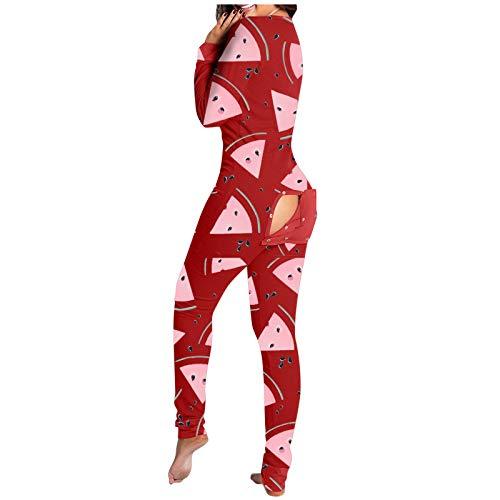 XUXI Mono de mujer con estampado de sandía con botones en la parte delantera, funcional, con solapa, para adultos, pijama