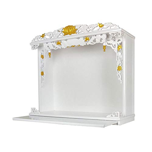 ZSEFV Three Holy Wall-Mounted Shrines Pressure-Resistant Solid Wood Buddha Altar Cabinet Miniature Table for Buddha Statue Stand Furniture Buddha Altar Shelf Stand