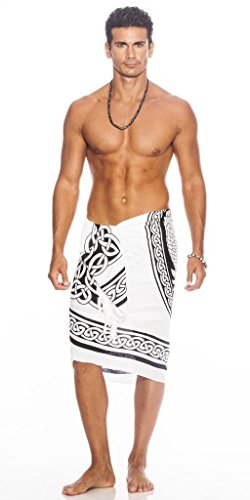 1 World Sarongs Mens Celtic Sarong in Maiden and The Dragon Black/White