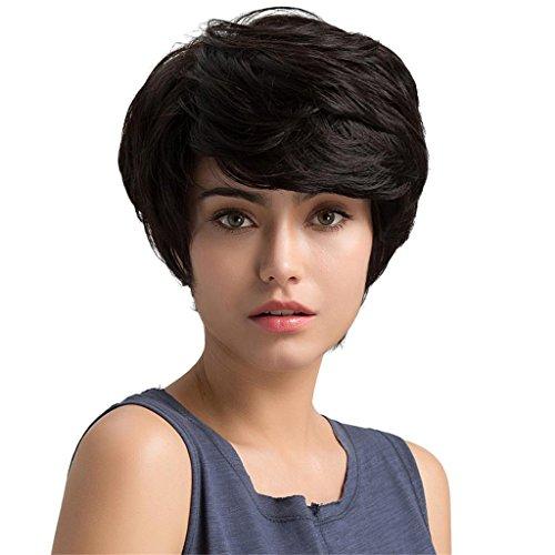 MagiDeal Perruque Femme Courte et Noir en Cheveux Humains Pleine Résistant à la Chaleur Fantasie pour Cosplay Costume Longeur 25cm