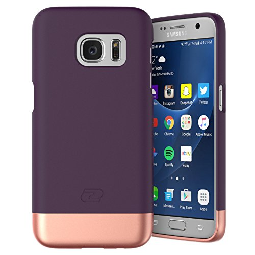 Encased Slim Case Compatible With Samsung Galaxy S7 Case,Ultra-thin SlimSHIELD Hybrid Shell4 Cool Colors Available) (Royal Purple)