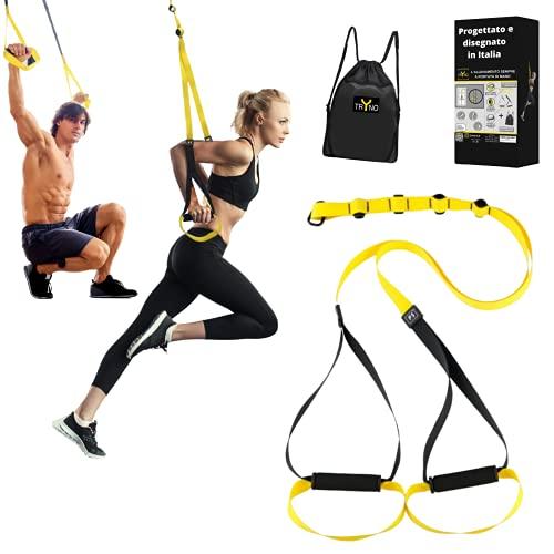 TRYNO TRX Fitness | attrezzo Multifunzione Palestra | TRX Suspension Training da casa | Allenamento Sospensione Nuovo TRX Design Italiano 2021 + Comodo e Leggero + Zaino Omaggio