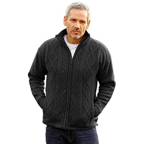 Men's Irish Wool Sweater, Full Zip, Front Pockets, Lined Interior, Gray, Medium