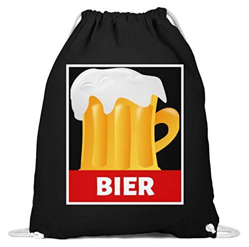 SPIRITSHIRTSHOP Bier Beer Alkohol Saufen Party - Baumwoll Gymsac -37cm-46cm-Schwarz
