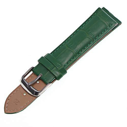 HNGM Correas para Relojes de Hombre 12mm 14mm 16 mm 18 mm 20 mm 22 mm Correa Negra Correa de Cuero y Correa de Mujer Correa de la Correa de la Correa (Band Color : Green, Band Width : 16mm)