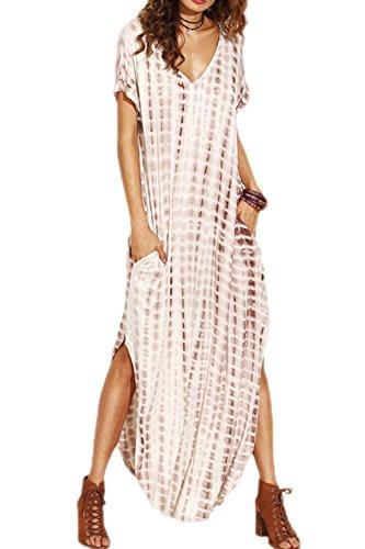Vestidos Mujer Casual Playa Largos Verano Tie Dye Vestido Boho Hendidura Falda Larga Maxi Vestido Playeros Apricot M