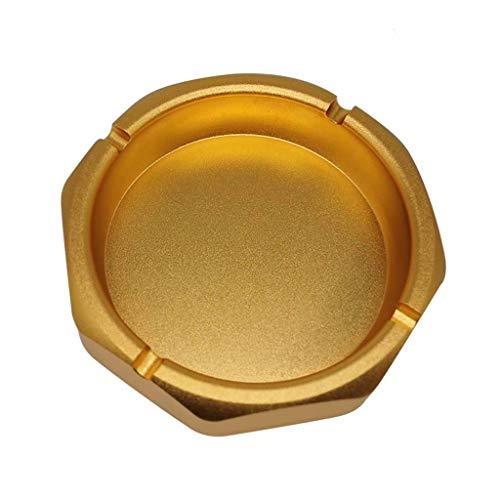 SHYPT Cenicero de Mesa Moderno de Acero Inoxidable, cenicero de Cigarrillos for Uso Interior o Exterior, cenicero para (Color : Gold)