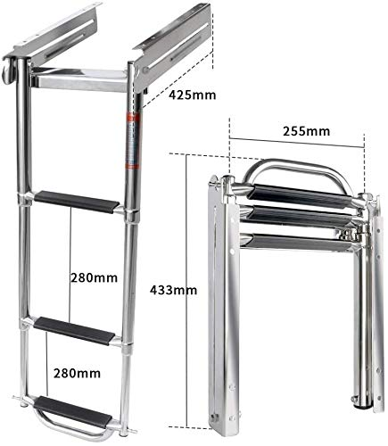 Marinebaby 3-Step Ladder Under Platform Slide Mount Boat Boarding Ladder, Telescoping Ladder with a Carry Handle and Mounting Screws, Press-Type Spring Latch
