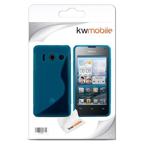 kwmobile Huawei Ascend Y300 Hülle - Handyhülle für Huawei Ascend Y300 - Handy Case in S-Line Design Blau Transparent - 5