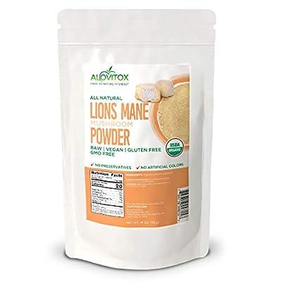 Alovitox Organic Lions Mane Mushroom Powder 4 Oz | Gluten Free, Non GMO and USDA Certified