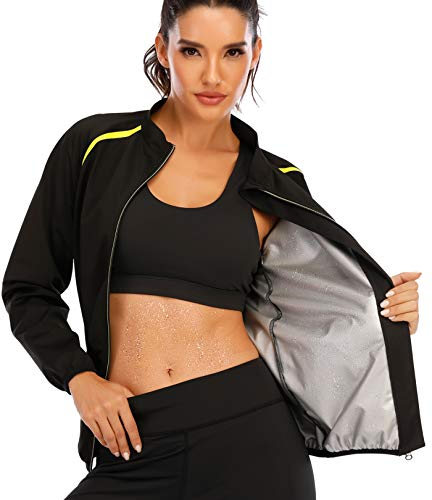 SEXYWG Women Sauna Jacket Slimming Sweat Sauna Suit Sauna Shirt Long Sleeve Workout Tops Body Shaper Black