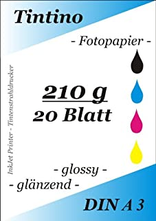 pripa–Lote de 20hojas de papel fotográfico brillante 210g/m² A3–Standard brillante de secado rápido resistente al agua color blanco muy gran brillo para impresora de inyección de tinta