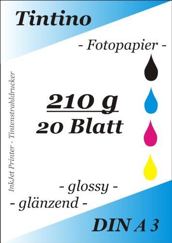 A3-20 Blatt Fotopapier Photopapier DIN - A 3-210g/qm - glossy glaenzend - sofort trocken - wasserfest - hochweiß - sehr hohe Farbbrillianz fuer InkJet Drucker Tintenstrahldrucker