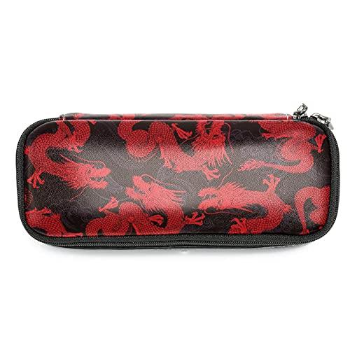 Estuche de Lápices infantil Dragón rojo chino Estuche escolar Cuero impermeable Bolsa de lápiz Organizador de papelería para niña 19x7.5x3.8cm