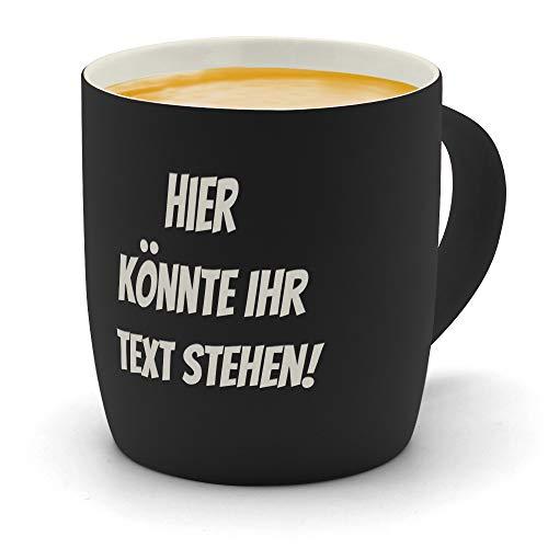 printplanet - Kaffeebecher mit eigenem Text graviert - SoftTouch Tasse mit Wunschtext - Matt-gummierte Oberfläche - Farbe Schwarz