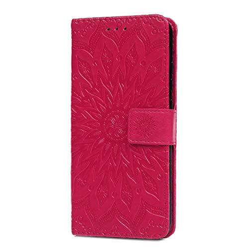 Huawei Y9a Hülle, Premium-PU-Leder, stoßdämpfend, Sonnenblumen-Folio, Silikonhülle, Magnetverschluss, voller Schutz, Buch-Brieftasche, Flip mit Kartenfächern, Ständer für Huawei Y9a, Hot Red