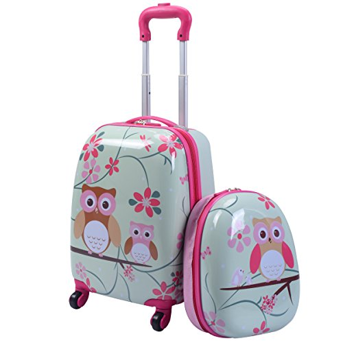 GYMAX Kids Carry On Luggage Set, 12' & 16' 2PCS Toddler Suitcase (Owl)