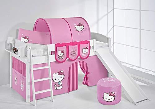Lilokids Lit surélevé ludique IDA 4105 90x200 cm Hello Kitty Rose - Lit surélevé évolutif Blanc laqué - avec Toboggan et Rideaux