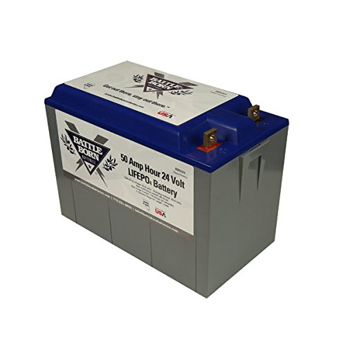 Battle Born LiFePO4 Deep Cycle Battery - 50Ah 24v with Built-in BMS - 3000-5000 Deep Cycle Rechargeable Battery - Perfect for RV/Camper, Trolling Motor, Marine, and Off Grid Applications