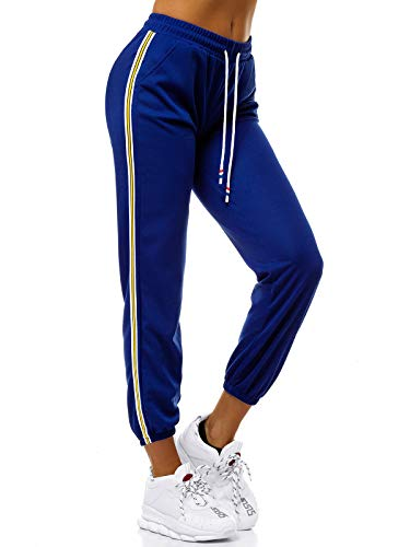 OZONEE Damen Jogginghose Hose Trainingshose Sporthose Freizeithose Motiv Damenhose Fitnesshose Sweatpants Sweathose Fußballhose Joggpants JS/1020/B9 BLAU XL