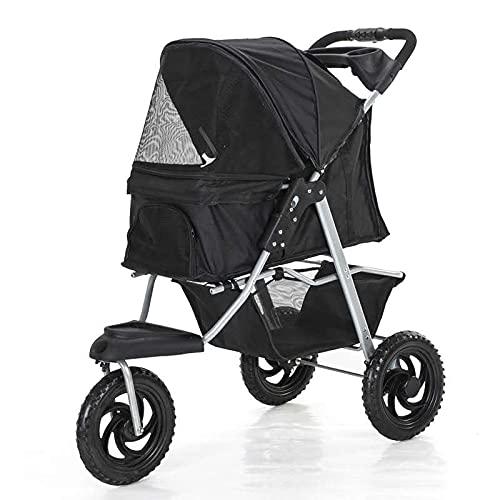 3/4Wheels Pet Stroller, Foldable Dog Cat Stroller Cage Jogging Stroller Travel Carrier Strolling Cart Doggie Stroller with Cup Holder & Storage Basket (Black-U, 3 Wheels)