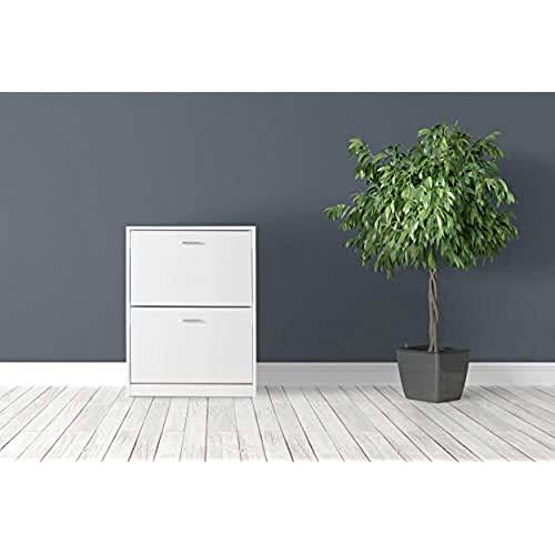 MUEBLECASA - Zapatero KIT 2 cajoneras con doble fila, hasta 12 pares, madera, Alto 83cm x Ancho 60cm x Fondo 24cm, Blanco