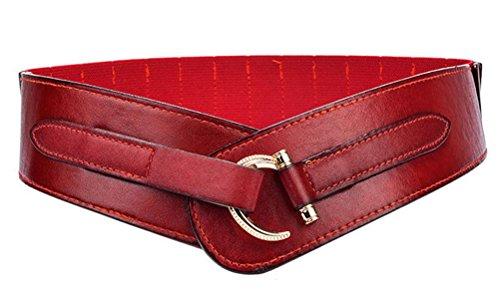 Damen Mädchen PU Leder Breiter Gürtel Fashion Haken Schnalle Elastisch Tailleband Taillegürtel (L, dunkel rot)