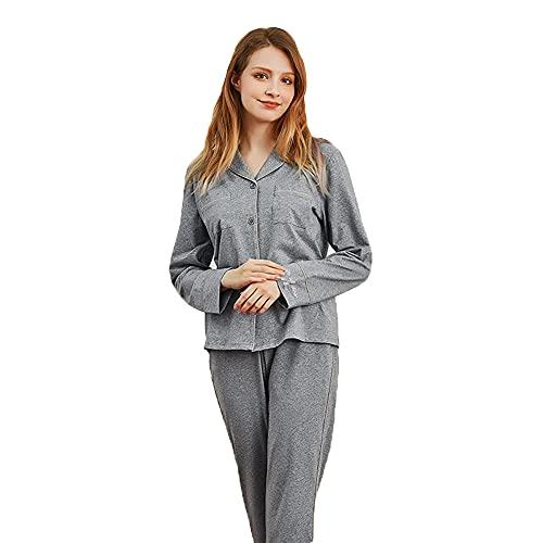 Conjunto De Pijamas para Mujer Algodón Suave, Ropa De Dormir De Manga Larga con Botones En La Parte Superior E Inferior, 2 Piezas, Ropa De Dormir, Ropa De Dormir,Gris,XL