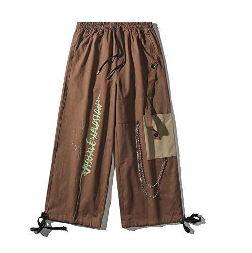 WBNCUAP Pantalones de Pierna Ancha de Cadena Harem Pantalones Streetwear Hombres Hip Hop Pantalones Casuales Moda Pantalones Masculinos (Color : Coffee, Size : Medium)