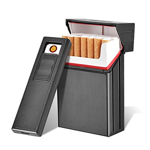 Caso de Cigarrillo con encendedores, leegoal USB Recargable Encendedor eléctrico, Metal Completo Pack 20 Regular Cigarrillos Titular, a Prueba de Viento flameless Cigarrillos Caja King Size