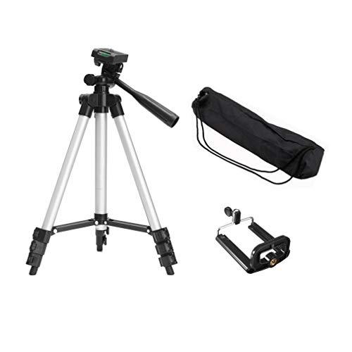 Trípode de cámara telescópica portátil con Soporte de Montaje con Bolsa de Transporte (Plateado)