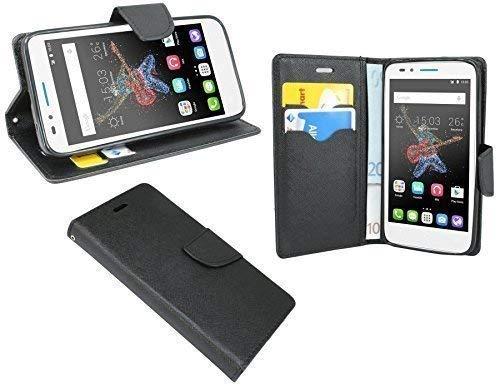 ENERGMiX Elegante Buch-Tasche kompatibel mit Alcatel One Touch Go Play (7048X) in Schwarz Leder-Optik Wallet Book-Style