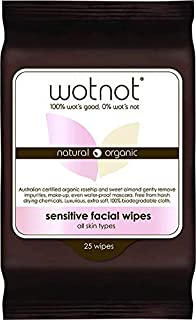 Wotnot Natural Organic Sensitive Facial Wipes for All Skin Types 25 Pack, 25 count Pack of 1