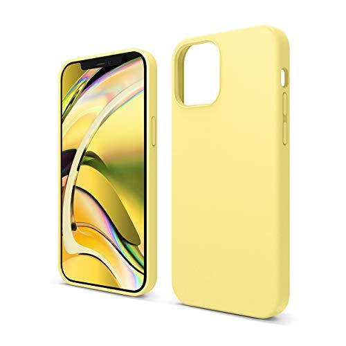 """elago Silicona Líquida Funda Compatible con iPhone 12 Case y Compatible con iPhone 12 Pro Case (6.1""""), Silicona Premium, Protección Funda Protectora 3 Tapas Estructura (Amarillo)"""