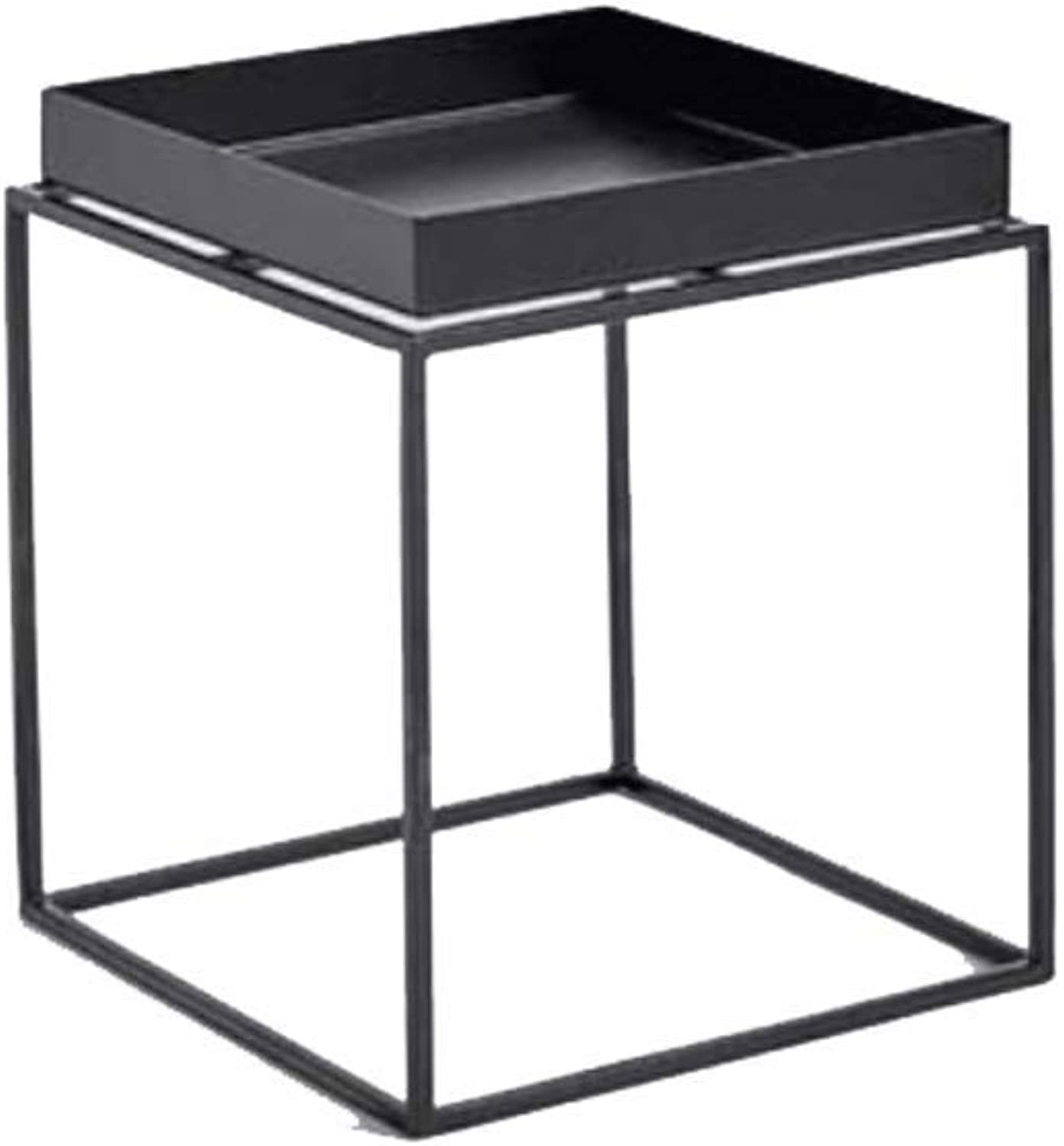 Multifunctional Coffee Table Flower Stand Living Room Sofa Side Table Shelf Bedroom Office Metal Black and White (color   Black, Size   30x30cm)