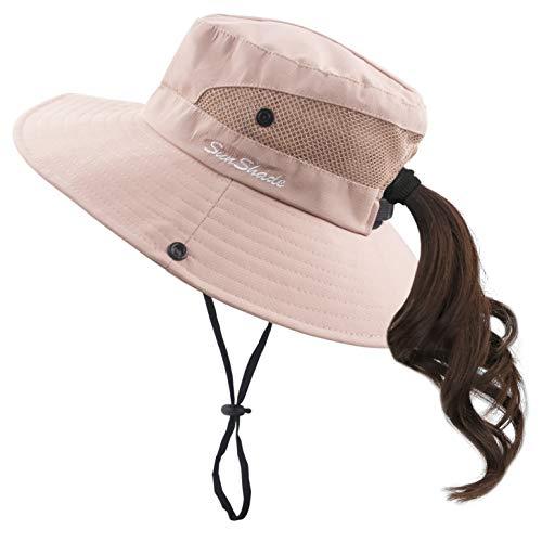 Muryobao Women Ponytail Summer Sun Hat Wide Brim UV Hats Floppy Bucket Cap for Safari Beach Fishing Gardening Pure Pink