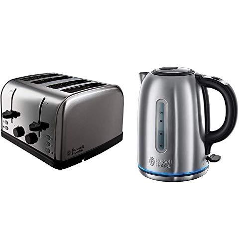 Russell Hobbs Futura 4-Slice Toaster 18790 - Stainless Steel Silver & Hobbs 20460 Buckingham Quiet Boil Kettle, 3000 W, 1.7 Litre, Brushed Stainless Steel Silver