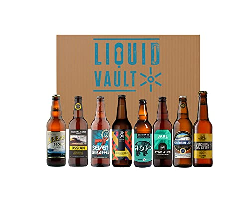 Scottish Real Ale Discovery Beer Box by Liquid Vault, A Mixed Case of 8 Real Ales from Scotland, Including Fyne, Broughton, Spey Valley, Arran, Williams Bros, Inveralmond