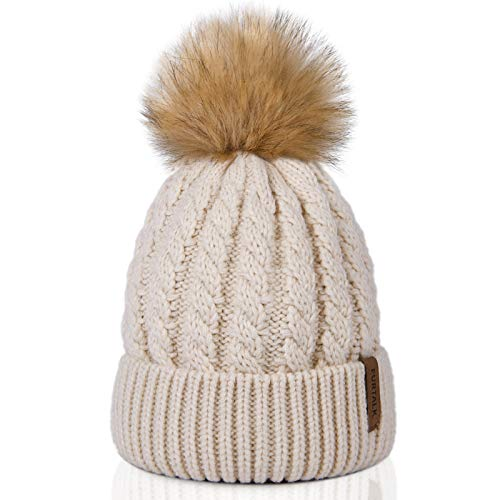 FURTALK Beanie Hat for Women Men Cable Knitted Bobble Winter Hats Warm Double Layer Fleece Lining Pom Wooly Cap