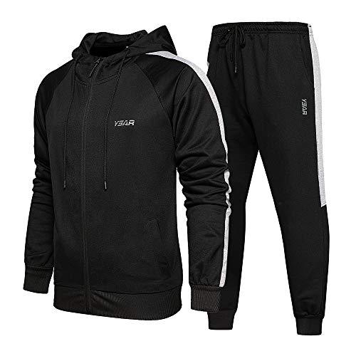 TOLOER Tracksuit Men 2 Piece Full Zip Sports Sets Jacket & Pants Active Fitness Sweatsuit Set Black Medium