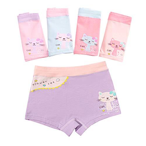 Cotton Coming Unterhosen für Mädchen,5er Pack Bequeme Mädchen Unterhosen Baumwolle Gemischte Kinder Unterwäsche Boxershorts 2-12 Jahre(L,4-6 Jahre)